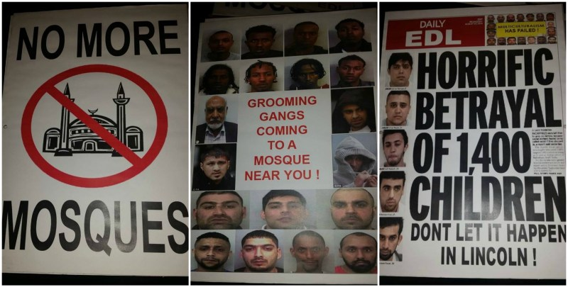 The posters were put up outside the site of the Lincoln Mosque