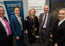 James Pinchbeck, Marketing Partner for Streets Chartered Accountants, Chris Brown Business Development Manager for Andrew and Co, Helen Doughty, Founding Director of SHD Composites, Andy Proctor, Relationship Director for NatWest Lincoln and Mark Evans, Managing Director for Coutts Institute. Photo: Steve Smailes