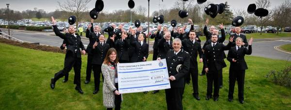 British Heart Foundation Fundraising Manager Helena Mair with Chief Constable Neil Rhodes and Cohort 17