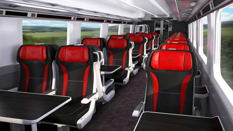 Artist impression of First class in the upcoming Virgin Azuma trains