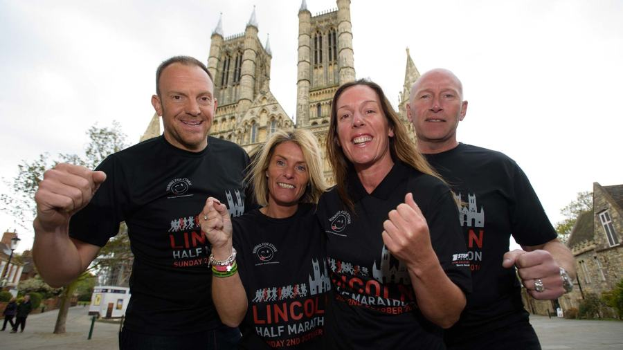 (L-R) OSB Events director Iain Hamilton, Sam Maull, Teresa Hamilton and Darren Maull from partner charity the Ethan Maull foundation. Photo: Steve Smailes for The Lincolnite