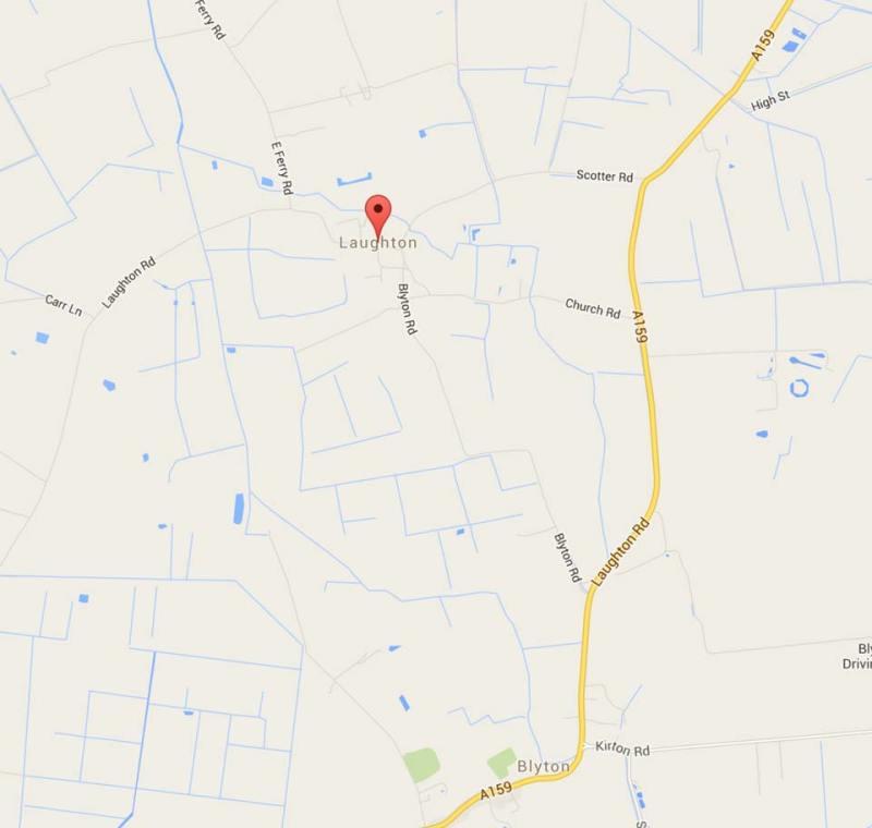 Laughton near Gainsborough, north of Lincoln. Map: Google