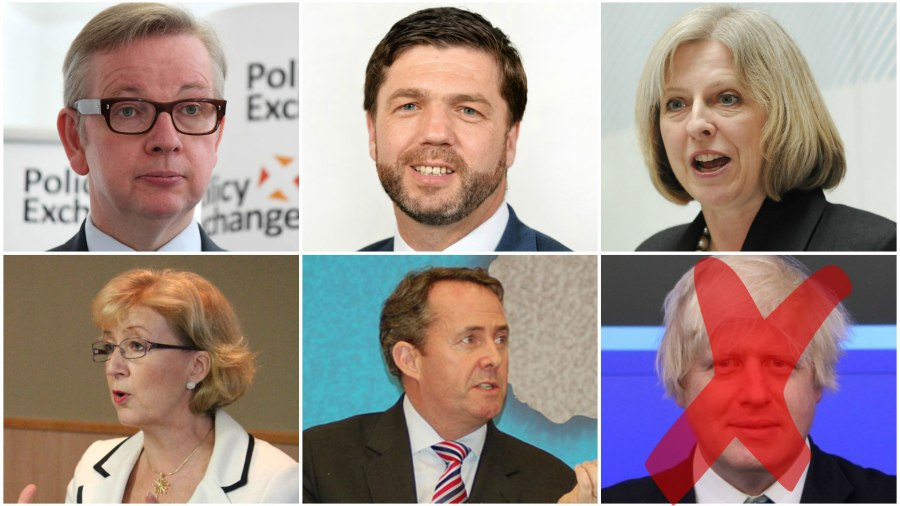 The Conservative Party candidates for leader. Michael Gove (Photo: Policy Exchange), Stephen Crabb (Photo: HM Government), Theresa May (Photo: Home Office), Andrea Leadsom (Photo: Policy Exchange), Liam Fox (Photo: Chatham House), and Boris Johnson (Photo: Think London)