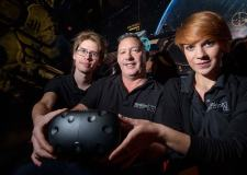 Simon Adderley (centre) created the UK's first virtual reality entertainment centre in Lincoln Tension VR. Photo Steve Smailes