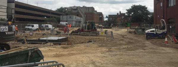 The site of the Roman remains in Lincoln city centre. Photo: The Lincolnite