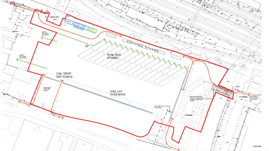 The site layout for the temporary bus station on Tentercroft Street. Photo: CoLC