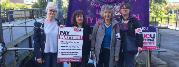 UCU representatives on strike in Lincoln - Vice chair Carole Ray, Branch secretary Chrystal Walker, Aileen Morris, union learning rep, Becky Margets, equalities rep