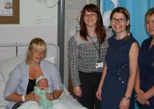 (L-R) Bonnie Henton with baby Fergus Henton, Tracy O'Neil from Galatia, Lucy Picksley Acis' Community Engagement Coordinator and Matron for Inpatients Maternity Julie Bulteel.