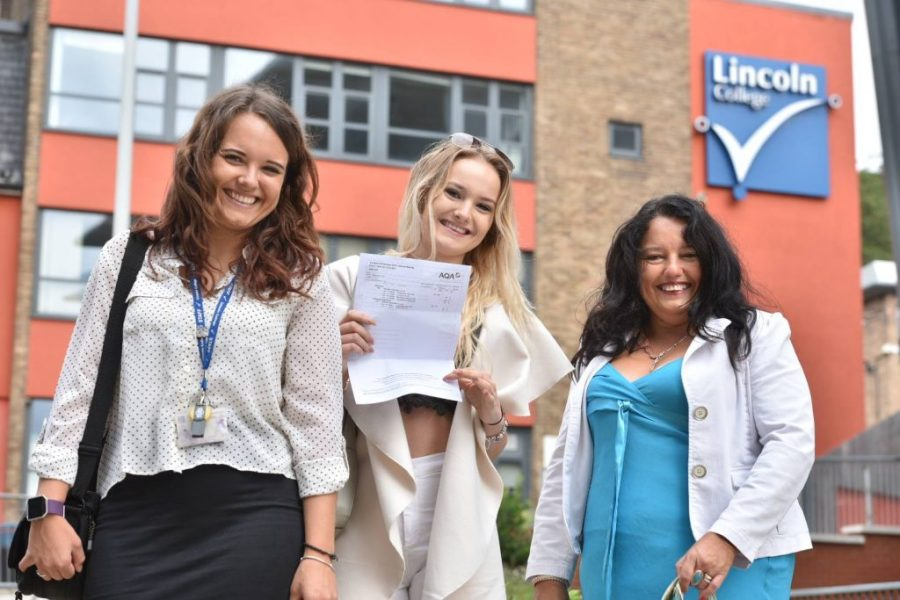 Delighted Lincoln College pupils receiving their A Level results. Photo: Steve Smailes for The Lincolnite