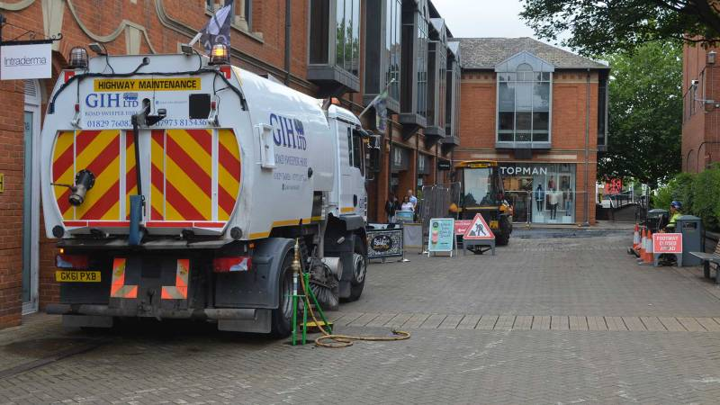 Work continues of St Benedict's Square in Lincoln, causing a decrease in trade for independent businesses. Photo: Sarah Harrison-Barker