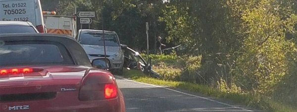 A section of the road is blocked after the crash near Doddington.
