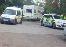 Police have arrived on scene to speak with the travellers