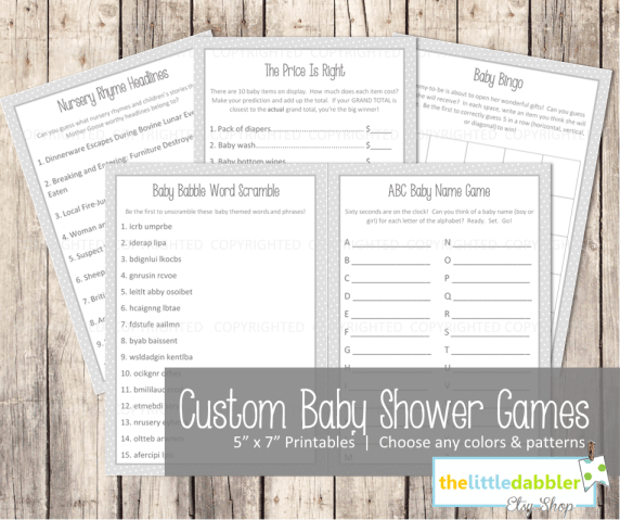 Customizable Baby Shower Games -- Digital Printable Download -- 5 Games  ||  thelittledabbler.com