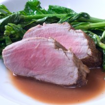 Apple Cider-Brined Pork Tenderloin with Rhubarb Deglazing Sauce