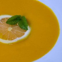 Heirloom Carrot and Leek Soup with Lemon Verbena, Spearmint &amp; Garlic Gremolata