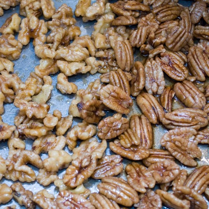 Just Baked Candied Spiced  Walnuts and Pecans