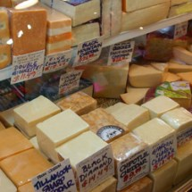 Cheddar cheeses at Pike Place Market Seattle Mac & Cheese