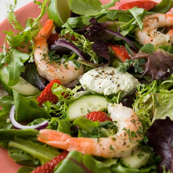 Strawberry shrimp and cucumbers 3 Prawn & Strawberry Salad with Fresh Herb Panna Cotta