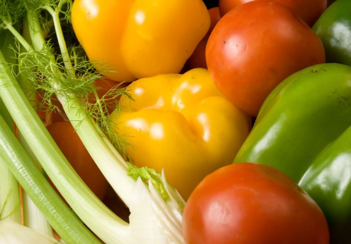 Fennel , Yellow Bell Pepper,  Green Bell Pepper and Tomato