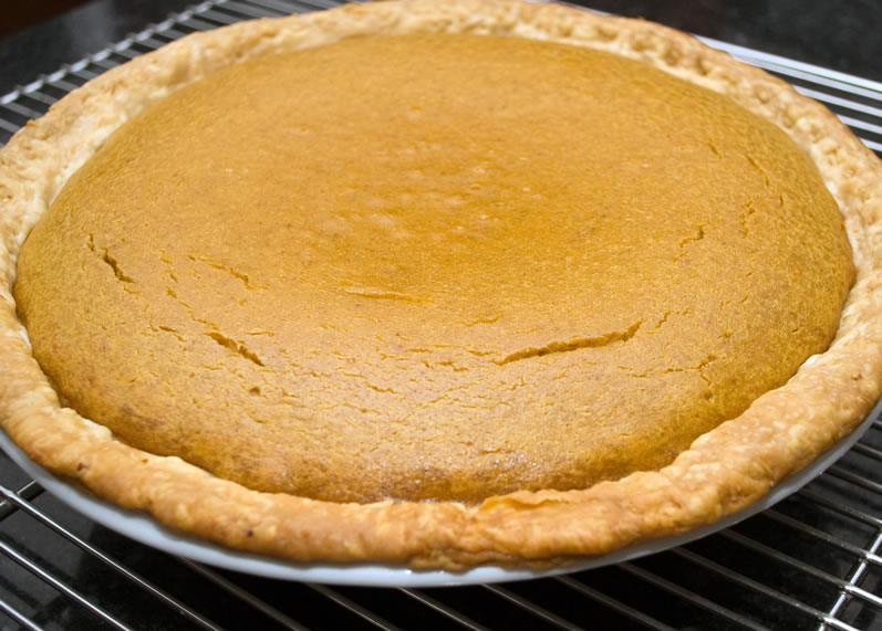 Pumpkin Sour Cream Pie Hot from the Oven