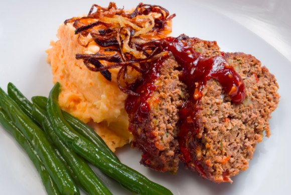 Plated with masher Smokey Chipotle Meatloaf