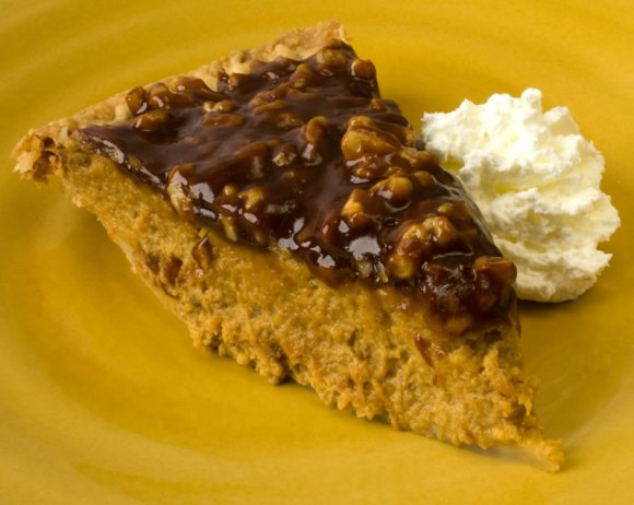 Sliced with whipped cream 2 Pumpkin Sour Cream Pie with Caramel Walnut Topping