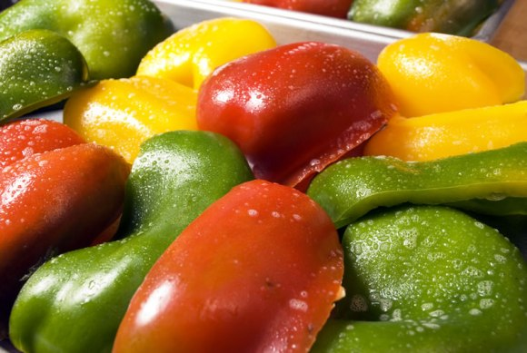 Yellow red and green peppers ready to roast Roasting Peppers Step By Step