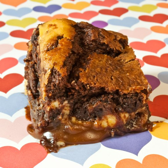 Brownie closeup on heart paper new LunaCafes Burnt Caramel & Lemon Chevre Brownies