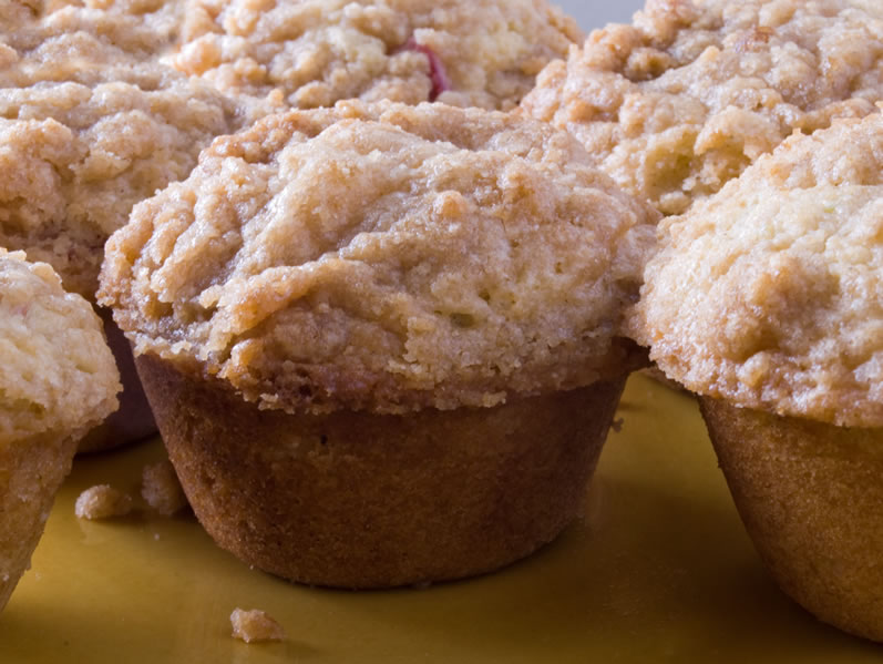 Rhubarb Cardamom Lime Muffins Fresh from the Oven