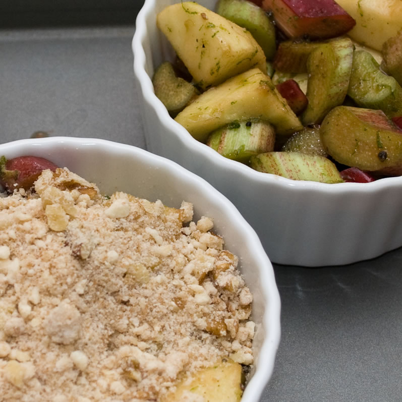 Rhubarb Apple Crisp in Ramekins