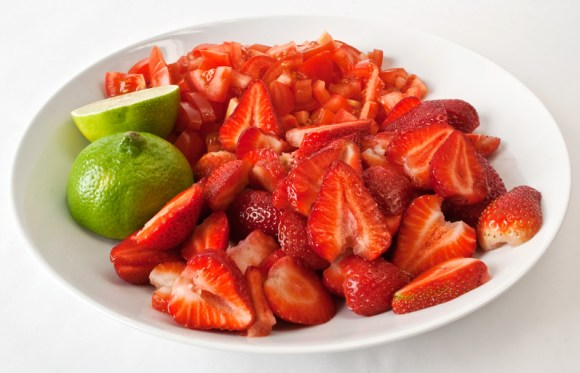 Bowl of strawberries and tomatos Fresh Strawberry Tomato Dessert Sauce