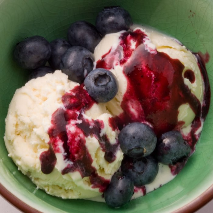 Candied Ginger Ice Cream with Blueberry Lime Sauce