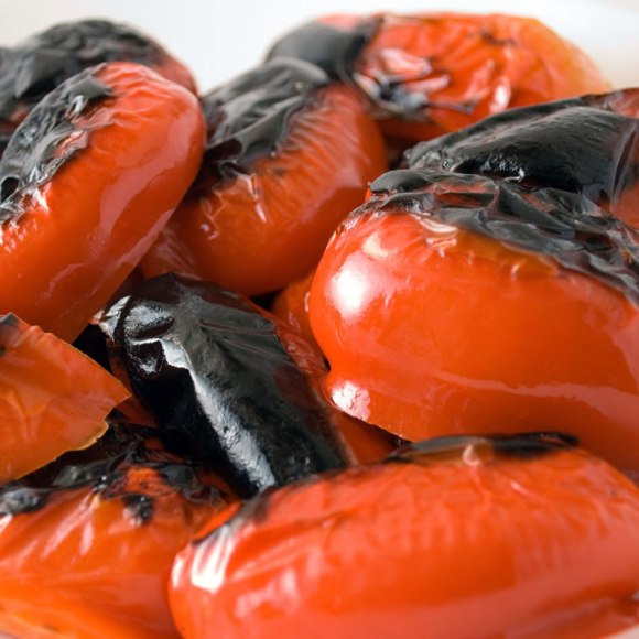Roasted Red Bell Peppers Fresh from Under the Broiler