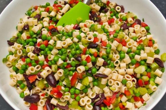 Mac salad mixing the ingredients Old Fashioned Creamy Macaroni Salad