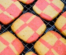 Double Square Cinnamon Hot & Orange Shortbread Cooling on a Wire Rack
