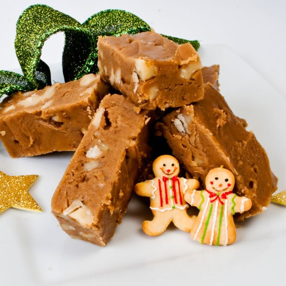 Fudge with snowmen Dreamy Creamy Gingerbread Fudge: Two Ways