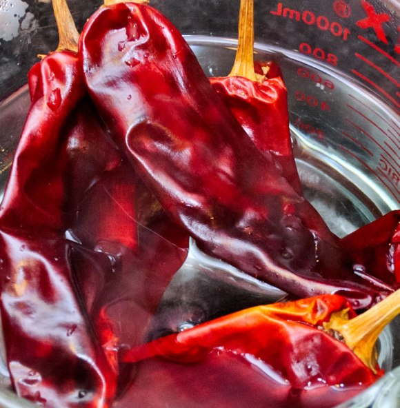 Hydrating peppers Breast of Chicken with Fiery, Fruity Guajillo Sauce