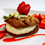 Mayan Chocolate Shortcake with White Chocolate Crema & Strawberry Lime Sauce