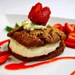 Mayan Chocolate Shortcake with White Chocolate Crema & Strawberry Lime Sauce
