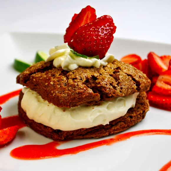 Mayan Chocolate Shortcake with White Chocolate Crema Strawberry Lime Sauce Fresh Strawberry Roundup