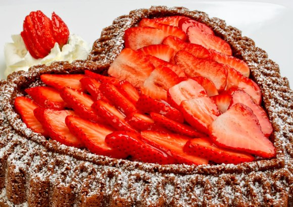 Layer with strawberries Chocolate Almond Pound Cake