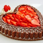 Chocolate Almond Pound Cake with Glazed Strawberries