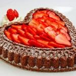 Chocolate Almond Pound Cake with Glazed Strawberries