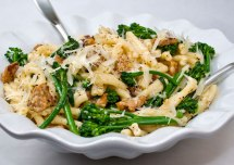 Strozzapreti with Spicy Italian Sausage, Broccolini &amp; Garlic Crema
