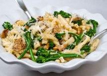 Strozzapreti with Spicy Italian Sausage, Broccolini & Garlic Crema