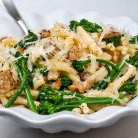 Strozzapreti Pasta with Spicy Italian Sausage, Broccolini & Garlic Crema