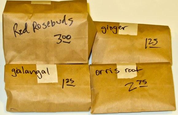 Bags of spices Moroccan Ras el Hanout