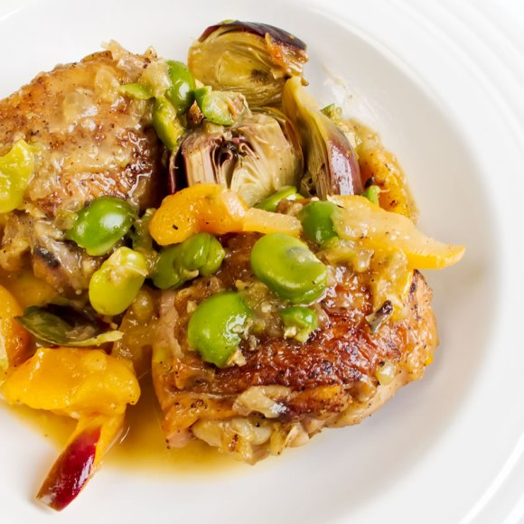 Serving Chicken Tagine with Baby Artichokes, Green Olives, Apricots & Preserved Lemon