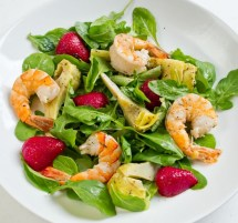 Lemon & Thyme Marinated Artichoke, Tiger Prawn & Strawberry Salad