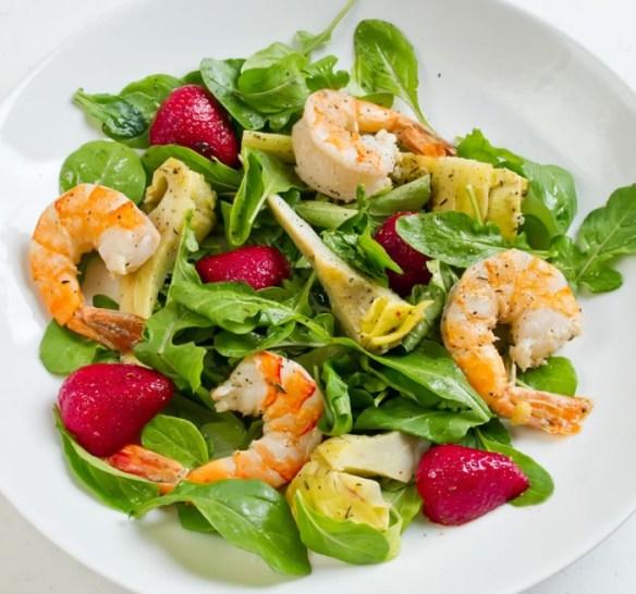 emon & Thyme Marinated Artichoke, Tiger Prawn & Strawberry Salad
